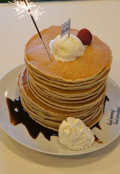 Birthday pancake stack