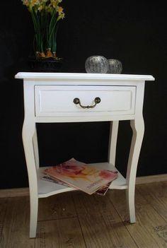 Beistelltisch Kommode Nachttisch Tisch antik Weiß Landhaus AD65