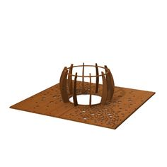 STREETLIFE Lotus Tree Guard (short version) and Tree Grille CorTen Square with Cloud of Nuts pattern.  #StreetFurniture #TreeGrate #TreeGuard #CorTen