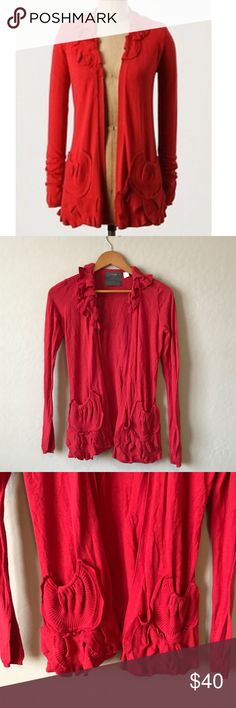 """Anthropologie """"delicate drafts"""" cardigan Appliqué fans at the neckline and pockets aerate this featherweight sweater with free-flowing ease. By Guinevere. Open placket. Cotton and viscose. 27""""L Anthropologie Sweaters Cardigans"""