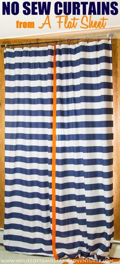 No Sew Curtains from a Flat Sheet | #NoSew #Curtains #Sheet #Craft #Striped #Orange #Blue #Iron