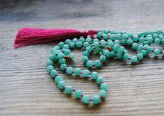 Mala necklace 108 mala beads knotted mala long by IskraCreations