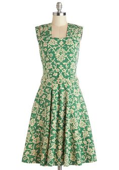 Delight Me Dress by Effie's Heart - Green, Tan / Cream, Floral, Belted, Daytime Party, A-line, Sleeveless, Better, Cotton, Knit, Long, Pocke...