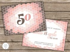Ombre 50th birthday party invitation in pink&brown.  Invito per festa di compleanno 50 anni rosa e marrone by LilyandSageDesign