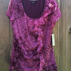 NWT Apt 9 blouse lightweight with ruffle around 1/2 of neckline and going down the left center side to hem. Apt. 9 Tops Blouses