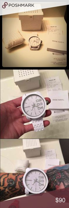 DIESEL Watch White Band and Case Super Large Case is sooo EPIC BRAND NEW!!! Model# DZ-1461 111303 Willing to negotiate but no low ball offers this is brand new and a DOPE AF DIESEL Watch Diesel Accessories Watches