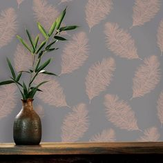 Holden Fawning Feather Wallpaper Rose Gold / Grey 12629