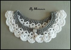 """Col Claudine crocheté en coton """"gris et blanc"""""""