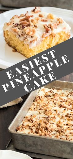 Easiest Pineapple Cake is a one bowl wonder made without oil or butter in the homemade cake batter. Easiest Pineapple Cake is a one bowl wonder made without oil or butter in the homemade cake batter. Pinapple Cake, Easy Pineapple Cake, Pineapple Desserts, Pineapple Recipes, Easiest Pineapple Cake Recipe, Pineapple Cupcakes, Pineapple Juice, Best Dessert Recipes, Cheesecake Recipes