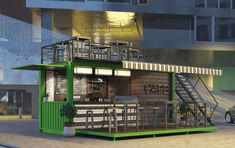 """Project description A cafe that quickly and easily changes its location. It is always in the thick of events, festivals, concerts, exhibitions. Simplicity and practicality were the main criteria for creating the concept """"Container Cafe"""". Café Container, Container Coffee Shop, Tailgate Bar, Shipping Container Restaurant, School Cafe, Cafe Pictures, Container Conversions, Archi Design, Industrial Cafe"""