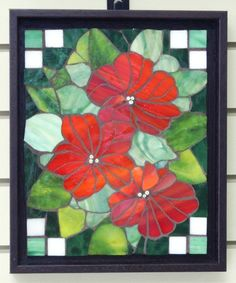 RED FLOWERS  Mosaic Art Glass Wall Hanging by heartsingmosaics, $65.00