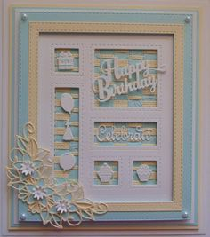 Inky Finger Zone: Happy Birthday Shadow Box using Star Flower Cluster Bday Cards, Happy Birthday Cards, Men's Cards, Spellbinders Cards, Valentine Greeting Cards, Window Cards, Flower Cards, Hobbies And Crafts, Shadow Box