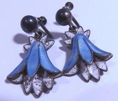 Vintage Sterling Margot de Taxco Mexico Enamel Blue Bell Earrings #MargotDeTaxco