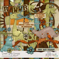digital scrapbooking kit Sweet Digi Scraps RAWWR - cute dinosaurs!  not scary at all http://www.thedigichick.com/shop/Rawwr.html
