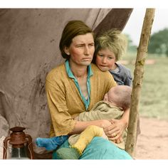 "Dorothea Lange Color Dorothea Lange Color Destitute pea pickers in California. Mother of seven children. Age thirty-two. Nipomo, California. Published - March 1936 Dorothea Lange's best-known picture ""Migrant Mother"" Florence Owens Thompson. Dust bowl migration Colorized"