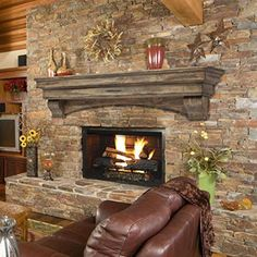 """Pearl Mantels 48"""" Mantel Shelf Celeste Dune Pine 3pc 497-48-10 Decorating your electric fireplace, wood fireplace, bio-ethanol fireplace, or any other kind of fireplace with this 48 inch mantel shelf"""