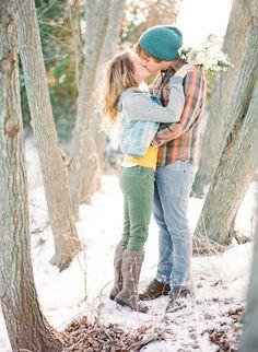Romantic winter snowy engagement session