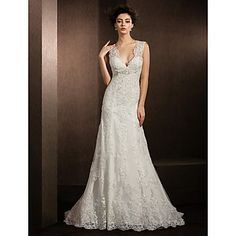 Sheath/Column V-neck Court Train Lace Wedding Dress – USD $ 349.99 - wish the back was cut lower