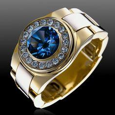 Mens ring - white diamonds and saphire