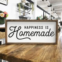 Happiness is Homemade Framed Wood Sign, Custom Saying Kitchen Decor, Farmhouse Style, Fresh Kitchen Design