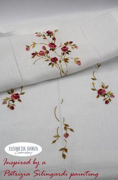 Elisabetta ricami a mano: Patrizia & me... La tenda Hand Embroidery, Napkins, Flowers, Towels, Dinner Napkins