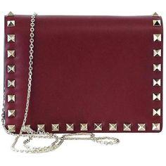 Preowned Valentino Garavani Bag Red Mini Rock Stud Clutch Cross Body... (8,530 SAR) ❤ liked on Polyvore featuring bags, handbags, clutches, red, red cross body purse, studded crossbody purse, crossbody handbag, red clutches and valentino handbags