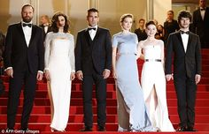Dressed to impress: Pictured from left, Greek director Yorgos Lanthimos, Rachel Weisz, Colin Farrell, Lea Seydoux, British actress Jessica Barden and British actor Ben Whishaw