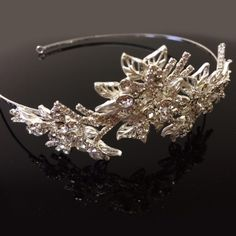 £25.99 Silver Diamante Flower Side Tiara Headband