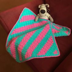 Baby Blanket In Pink Turquoise  For Buggy by Ladydarinefinecrafts