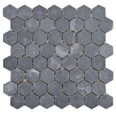 Merola Tile Crag Hexagon Black 11-1/8 in. x 11-1/8 in. x 9 mm Slate Mosaic Floor and Wall Tile-GDXCHXB at The Home Depot