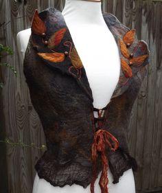 Autumn Vest Fairytale Dark Forest Vest  Faerie Costume  by folkowl, $135.00