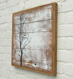 art made from wood | Hand­made. Hand painted. Reclaimed wood. Dis­tressed typo­graphy .
