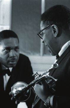 John Coltrane with Dizzy Gillespie, The Olympia, Paris 1961. Photo by Jean-Pierre Leloir - #Jazz #Legend