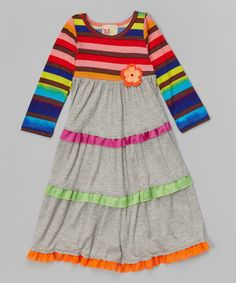 Look at this #zulilyfind! Gray & Red Stripe Tiered Dress - Toddler & Girls #zulilyfinds