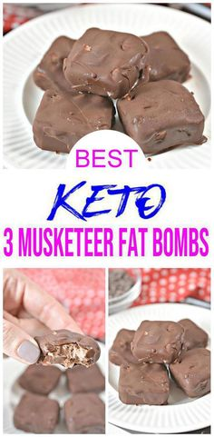 CHECK out these keto chocolate fat bombs! EASY keto recipes for BEST low carb 3 Musketeers candy fat bombs. Great keto d Keto Desserts, Keto Snacks, Keto Recipes, Dessert Recipes, Healthy Recipes, Candy Recipes, Quick Recipes, Keto Cookies, Keto Fat