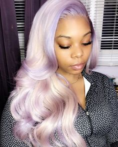 Purple Wig, Purple Weave Hair, Purple Hair Black Girl, Curly Hair Styles, Natural Hair Styles, Beard Colour, Stylish Short Hair, Colored Wigs, Birthday Hair