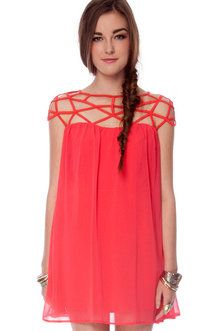 Pulling Strings Dress in Coral Red