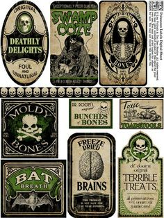 Get your Mod Podge out now and let's get our Halloween craft on! Ghosts - Halloween Decor - Halloween ideas - labels - by candy Retro Halloween, Halloween Prop, Halloween Tags, Casa Halloween, Halloween Potions, Halloween Bottles, Holidays Halloween, Halloween Crafts, Happy Halloween
