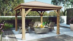 Wood Gazebo with Aluminium Roof
