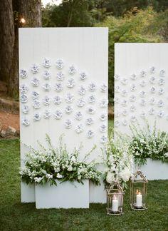 Elegant flower detailed escort card display: http://www.stylemepretty.com/2017/03/22/bringing-a-big-dose-of-modern-to-a-black-tie-affair/ Photography: Lindsay Madden - http://www.lindsaymaddenphotography.com/