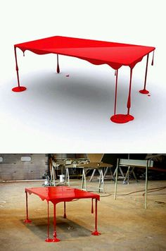 This bloody table would be a great Halloween decoration! or an everyday life decoration Funky Furniture, Unique Furniture, Furniture Design, Smart Furniture, Contemporary Furniture, Horror Decor, Decoration, Cool Designs, Sweet Home