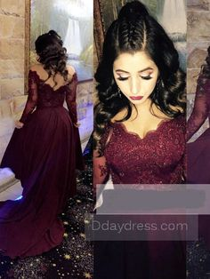 Ddaydress Burgundy Lace Long Sleeve Formal Dress V Neck Crystal Arabic  Evening Dress Tulle Party Prom bab6e40e4723