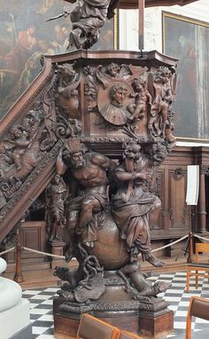 he Sint-Pieters- en Pauluskerk (Saint peter's and Paul's Church) is a former Jesuit Church in Mechelen. The pulpit was sculpted by Hen… Victorian Furniture, Antique Furniture, Art Sculpture, Sculptures, Art Nouveau, Art Deco, Wood Carving Art, Carving Designs, Wow Art