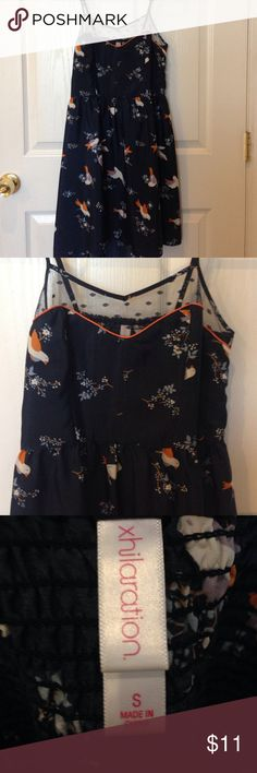 Bird and flower patterned high-low dress Super cute and comfortable high-low dress with a beautiful netted neckline Xhilaration Dresses High Low