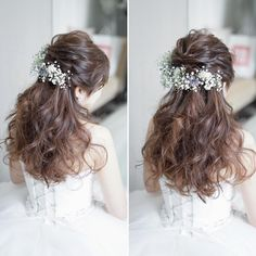 Best Womens Hairstyles For Fine Hair – HerHairdos Prom Hairstyles For Short Hair, Haircut For Thick Hair, Bride Hairstyles, Teenage Hairstyles, Short Hair With Layers, Short Hair Cuts, Simple Prom Hair, Flowers In Hair, Curly Hair Styles