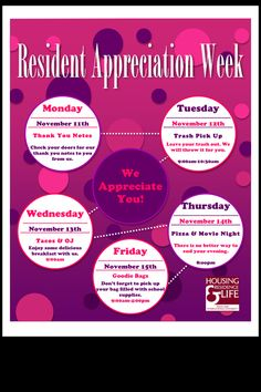 Resident Appreciation Week flyer