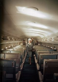 pillows and blankets for everyone. no doors on the overhead. no tv. no movies.  no exit signs. seats look like they're from 1970's. beautiful interior. DC9?