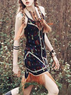 Aporia. AS Fringed Spaghetti Mini Dress