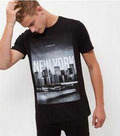 Black New York T-Shirt   New Look Camisetas Masculinas, Estampas, Masculino, 347807682f
