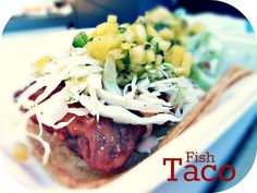 """Authentic """"Baja Style"""" Fish Taco hand battered and fried with cabbage and Sam's special sauce, served on two warm corn tortillas. Corn Tortillas, Fish Tacos, Fries, Cabbage, Pork, Beef, Wicked, Wheels, Recipes"""